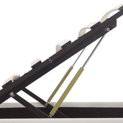 vidaXL Sängram hydraulisk förvaring LED vit konstläder 90x200 cm
