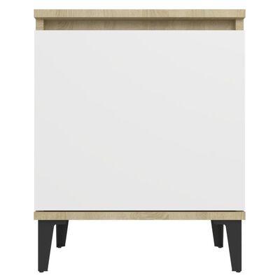 vidaXL Sängbord med metallben 2 st sonoma-ek och vit 40x30x50 cm