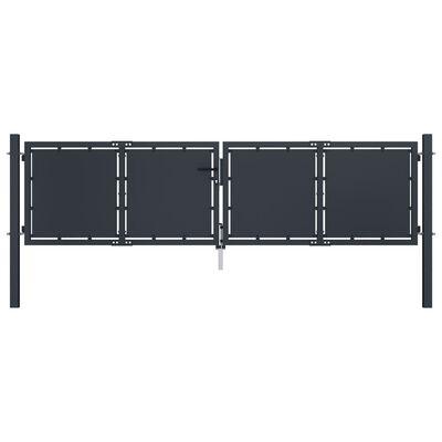 vidaXL Trädgårdsgrind stål 300x75 cm antracit