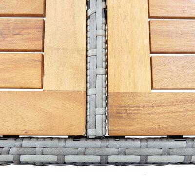 vidaXL Bargrupp för trädgården 7 delar med dynor konstrotting grå