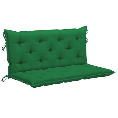vidaXL Gungbänk med grön dyna 120 cm massiv teak