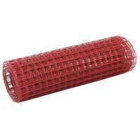 vidaXL Hönsnät stål med PVC-beläggning 25x0,5 m röd