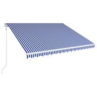vidaXL Markis automatiskt infällbar 450x300 cm blå och vit