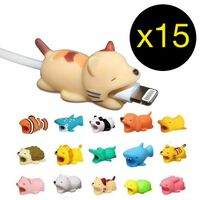 15 pack Animal Cable Bites - Skydd till USB laddare Kabelskydd