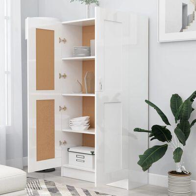 vidaXL Bokskåp vit högglans 82,5x30,5x150 cm spånskiva