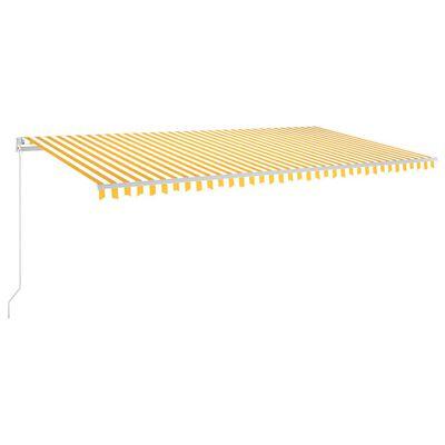 vidaXL Automatisk markis med vindsensor & LED 600x300 cm gul/vit, Yellowandwhite