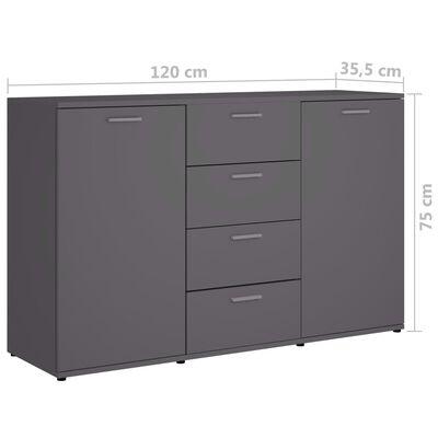 vidaXL Skänk grå 120x35,5x75 cm spånskiva