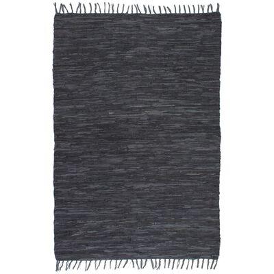 vidaXL Handvävd matta Chindi läder 80x160 cm grå