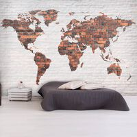 Fototapet - World Map: Brick Wall - 250x175 Cm