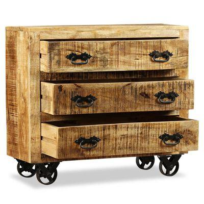 vidaXL Byrå med 3 lådor grovt mangoträ