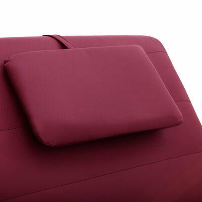 vidaXL Massageschäslong med kudde vinröd konstläder