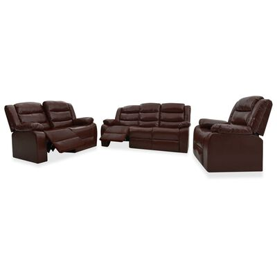 vidaXL Ställbar soffgrupp 3-sits + 2-sits + 1 fåtölj brun konstläder