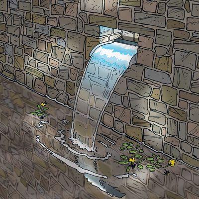 Ubbink Nevada vattenfall rostfritt stål 60 cm med LED-lampor