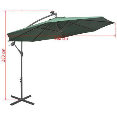 vidaXL Hängande parasoll med LED-belysning 300 cm grön metallstång