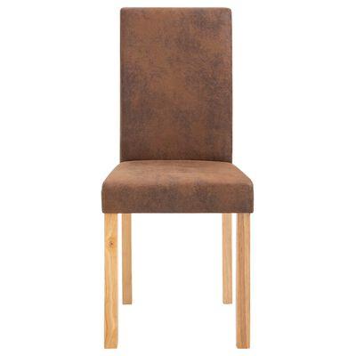 vidaXL Matstolar 4 st brun konstmocka, Brun