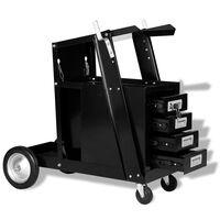 vidaXL Svetsvagn med 4 lådor svart