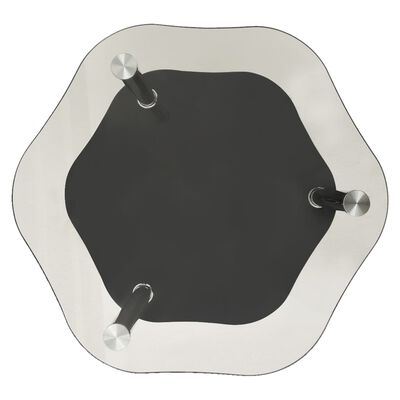 vidaXL Sidobord med 2 hyllor transparent/svart 38x38x50 cm härdat glas