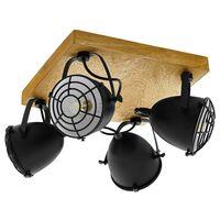 EGLO Spotlight Gatebeck 4 lampor stål och trä svart