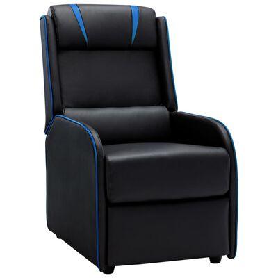 vidaXL Reclinerfåtölj svart och blå konstläder