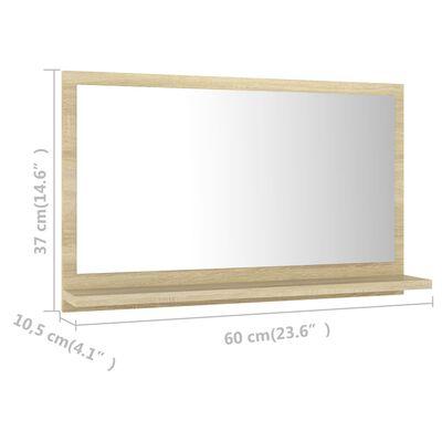 vidaXL Badrumsspegel sonoma-ek 60x10,5x37 cm spånskiva
