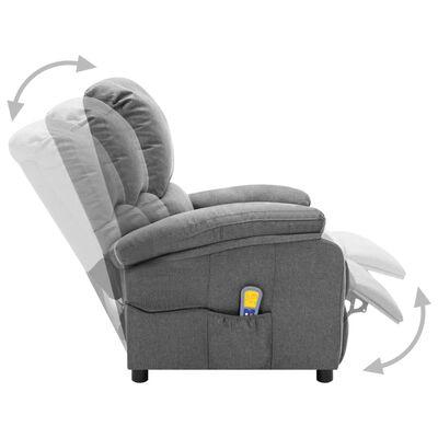 vidaXL Elektrisk massagefåtölj ljusgrå tyg