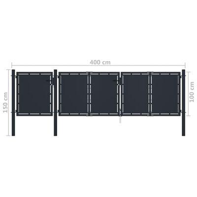 vidaXL Trädgårdsgrind metall 4x1,5 m antracit