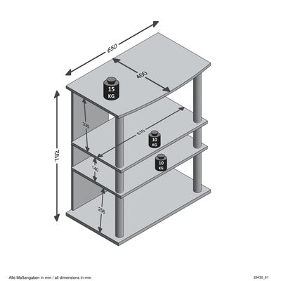 FMD TV-/HiFi-hylla med 3 fack 65x40x79,2cm ek