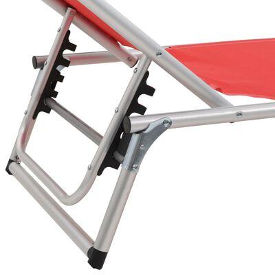 vidaXL Hopfällbara solsängar med tak 2 st aluminium och textilen röd