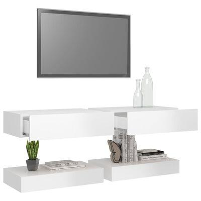 vidaXL TV-bänk med LED-belysning 2 st vit högglans 60x35 cm