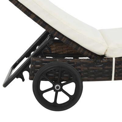vidaXL Solsäng med hjul och dyna konstrotting brun