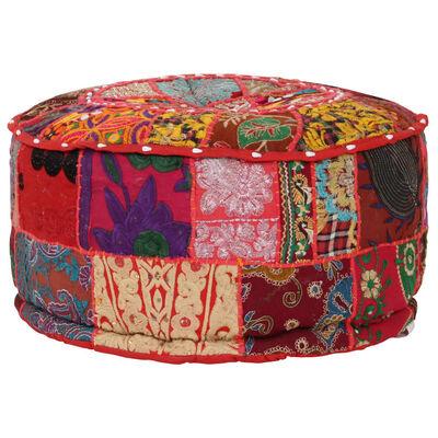 vidaXL Sittpuff med lappmönster rund bomull handgjord 40x20 cm röd