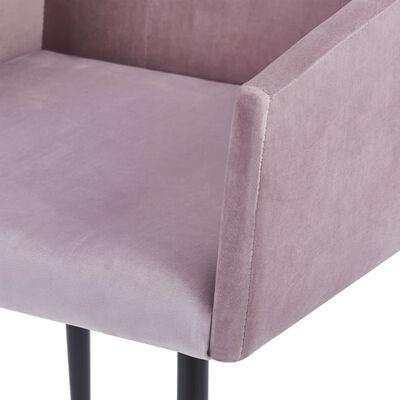 vidaXL Matstolar med armstöd 2 st rosa sammet