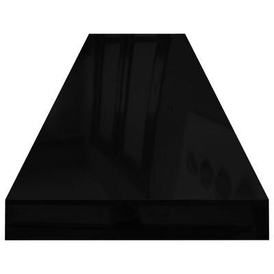 vidaXL Svävande vägghyllor 4 st svart högglans 120x23,5x3,8 cm MDF