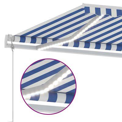 vidaXL Automatisk markis med vindsensor & LED 300x250 cm blå och vit
