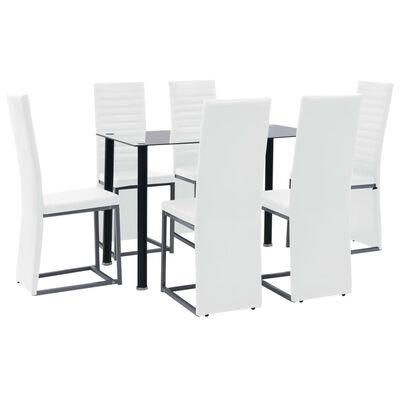 vidaXL Matgrupp 7 delar stål och härdat glas svart och vit