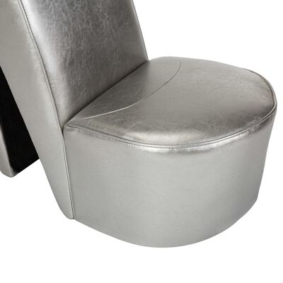 vidaXL Stol klacksko silver konstläder