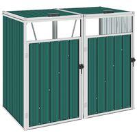 vidaXL Skjul för två sopkärl grön 143x81x121 cm stål