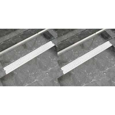 vidaXL Avlång golvbrunn 2 st bubblor rostfritt stål 930x140 mm