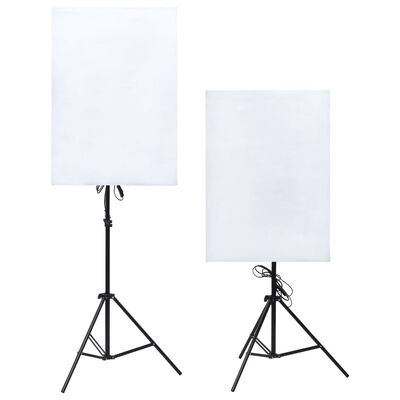 vidaXL Fotostudio med lampor, paraplyer, bakgrund och reflexskärm