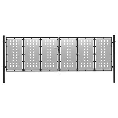 vidaXL Trädgårdsgrind stål 400x75 cm silver