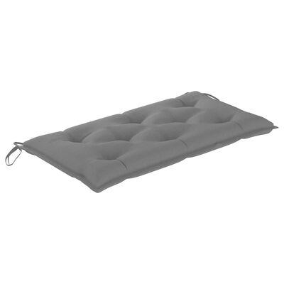 vidaXL Trädgårdsbänk med grå dyna 112 cm massiv teak