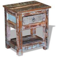 vidaXL Sidobord med 1 låda massivt återvunnet trä 43x33x51 cm