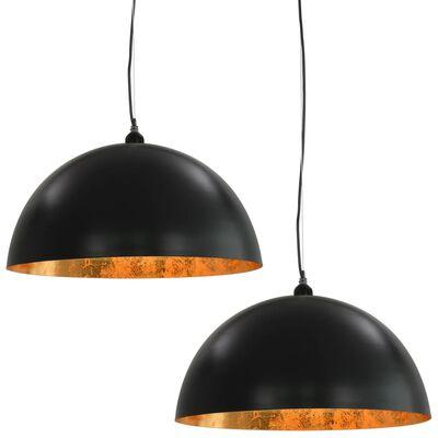 vidaXL Taklampor 2 st svart och guld halvrunda 50 cm E27,
