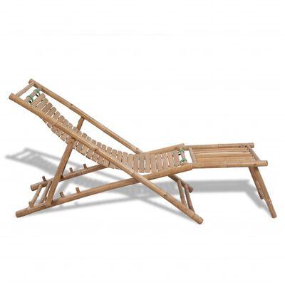 vidaXL Solstol med fotstöd bambu