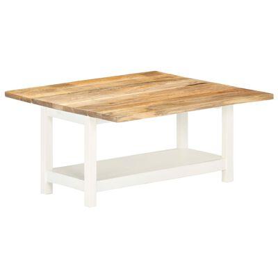 vidaXL Förlängningsbart soffbord vit 90x(45-90)x45 cm massivt mangoträ