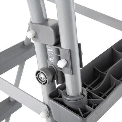 vidaXL Plaskpool med 4-stegs stege 350x90 cm grå