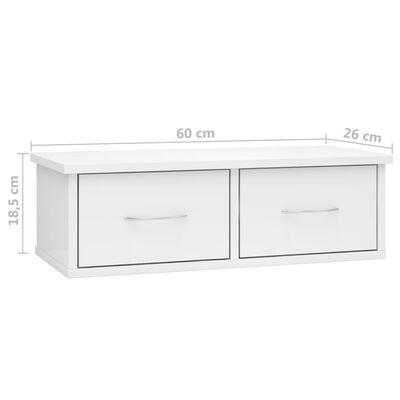 vidaXL Väggmonterade lådor vit högglans 60x26x18,5 cm spånskiva