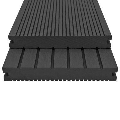 vidaXL WPC massiva golvplattor med tillbehör 20 m² 2,2 m svart