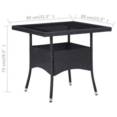 vidaXL Matbord för trädgård svart konstrotting och glas