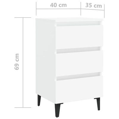 vidaXL Sängbord med metallben 2 st vit 40x35x69 cm
